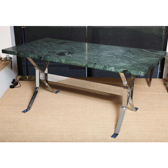 Designed by Alessandro Albrizzi, this fantastic writing or library table comes with 1 3/4 a thick rare green marble top...
