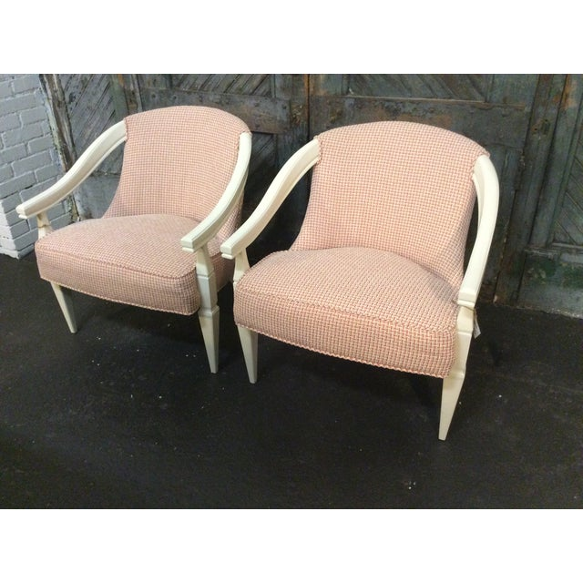 Orange and Ivory CustomUpholstered Chairs - A Pair - Image 3 of 6