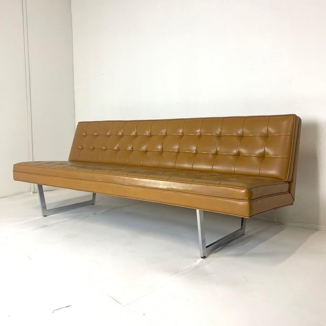 Bauhaus Patrician Mid-Century Steel Sled Base Saddle Naugahyde Tufted Gallery Sofa For Sale - Image 3 of 8