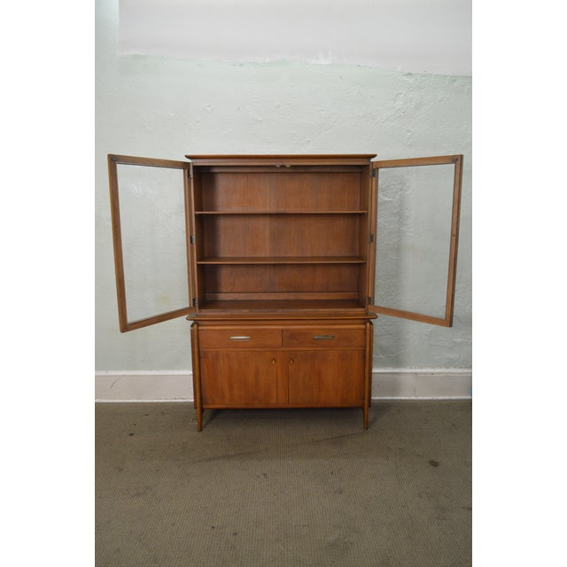 Drexel Projection Mid century Modern Walnut China Cabinet - Image 8 of 11