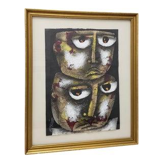 "Eduardo Exposito Gonzalez (Cuba, B. 1964) ""Two Faces"" Original Mixed Media 20th C. For Sale"