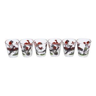 Hunter & Pheasants Shot Glasses - Set of 6 For Sale