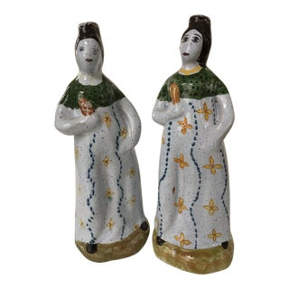 Vintage Traditional Portuguese Hand Painted Lady Figures - a Pair For Sale