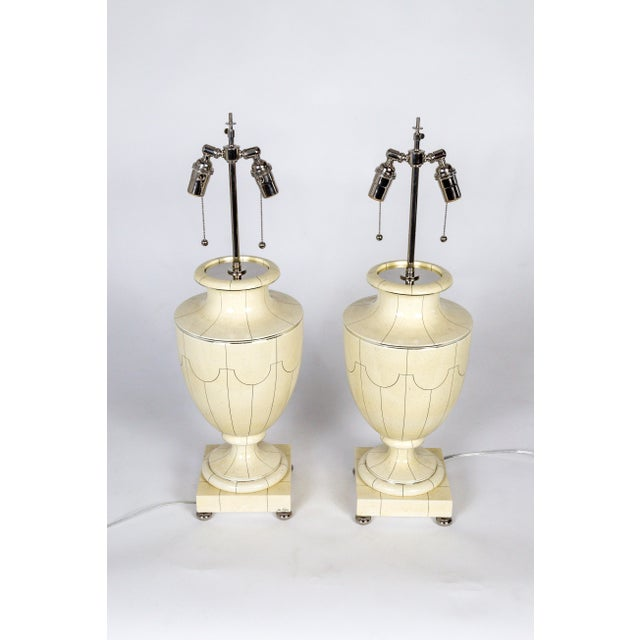 Metal Vintage Silver Trimmed Ivory Ceramic Urn Lamps by Jean Roger - a Pair For Sale - Image 7 of 10