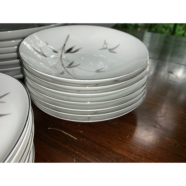 Sango Bamboo Knight Grey Bamboo Platinum Trim-Partial Dinnerware Set - 41 Plates, Reduced For Sale - Image 9 of 12