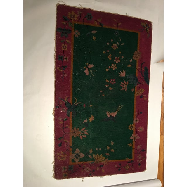 Antique Chinese Art Deco Flowers & Birds Rug - 2′11″ × 4′10″ - Image 2 of 9