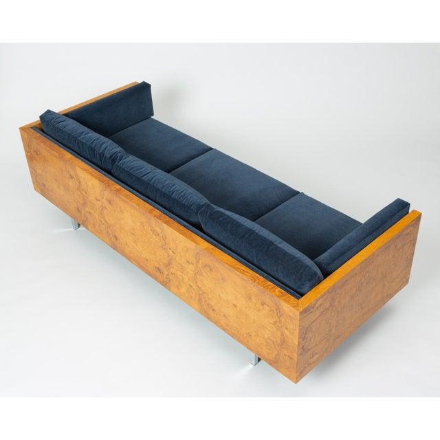 Blue Milo Baughman Burl Wood Case Sofa for Thayer Coggin For Sale - Image 8 of 13