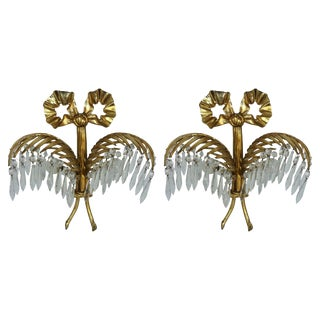 Pair of Bronze Palm Leaf Sconces by Josef Hoffmann and Bakalowits For Sale