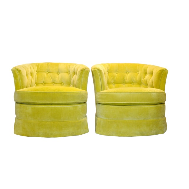 Yellow Velvet Swivel Chairs - A Pair For Sale