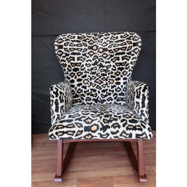 Velvet and Wood Folding Rocking Chair For Sale - Image 9 of 9