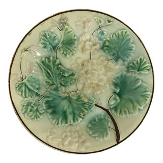 Majolica White Leaf and Hydrangea Flowers Plate For Sale