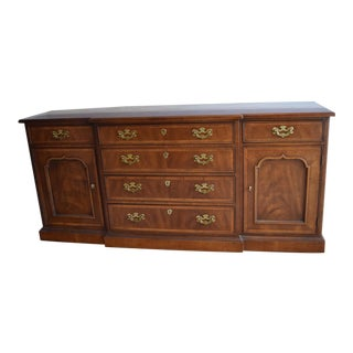 20th Century Henredon Chippendale Portfolio Banded Walnut Sideboard For Sale