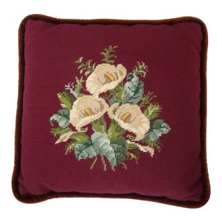 Floral Needlepoint Pillow With Calla Lily Flowers For Sale