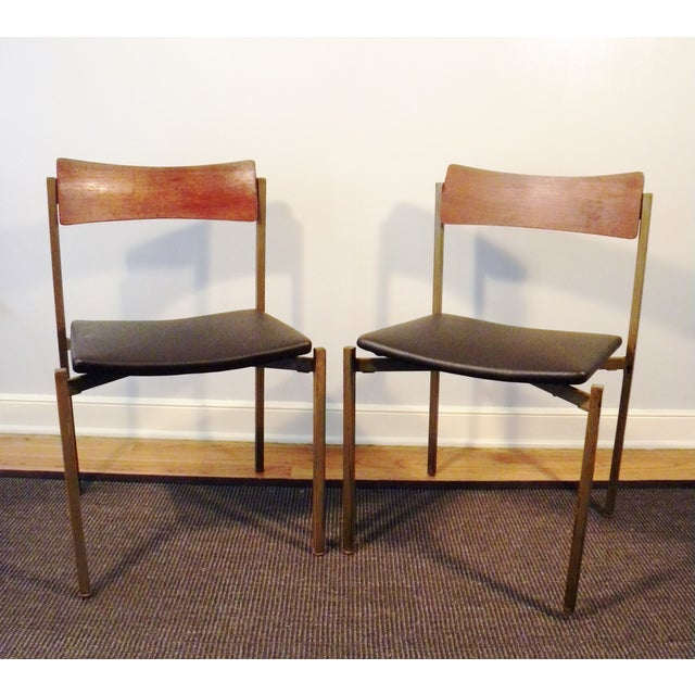 Mid-Century Floating Seat Metal Chairs - A Pair - Image 2 of 8