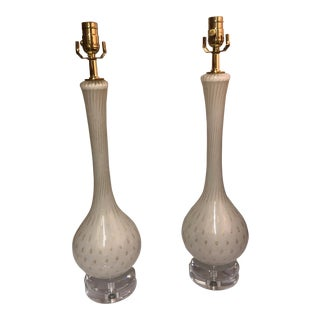 Vintage White With Gold Fleck Murano Table Lamps - a Pair For Sale