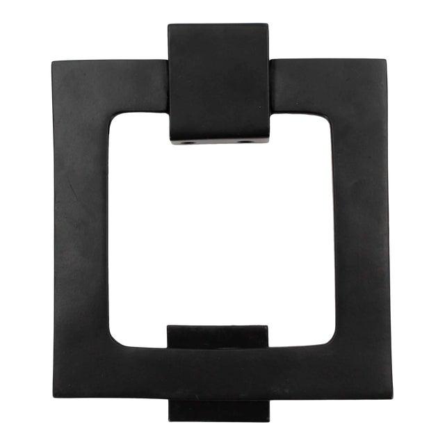 Large Modern Black Door Knocker, Matching Strike Plate For Sale