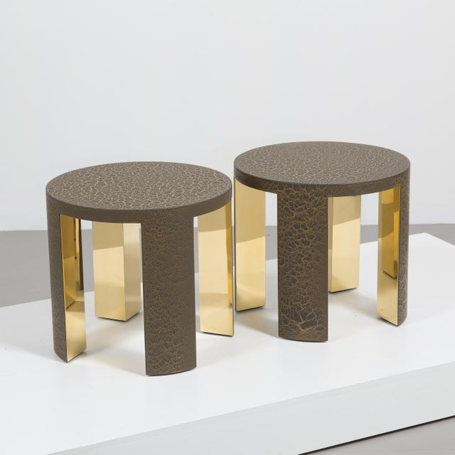 The Circular Crackle Side Tables by Talisman Bespoke (Bronze and Gold) For Sale - Image 6 of 10