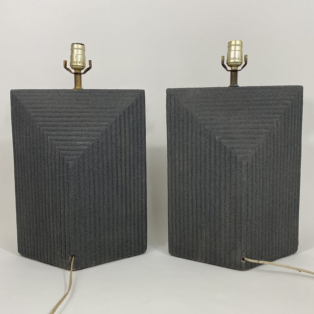 1980s Grey Postmodern Stepped Ceramic Lamp Pair For Sale In New York - Image 6 of 13