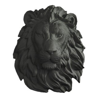 Black Faux Lion Wall Bust For Sale