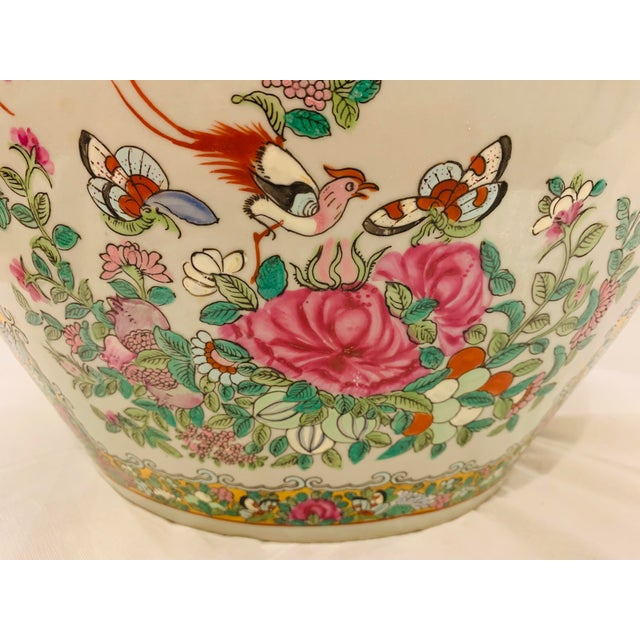 1960s Vintage Chinese Famille Rose Canton Hand Painted Fishbowl Planter For Sale - Image 5 of 10