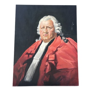 Vintage Mid-Century Portrait of Lord Newton Painting For Sale
