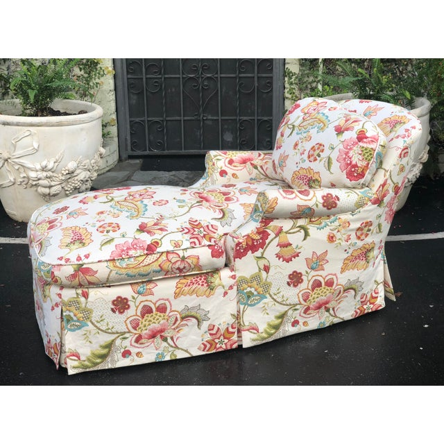 English Traditional Fine Designer Floral Upholstered Chaise Lounge For Sale - Image 3 of 5