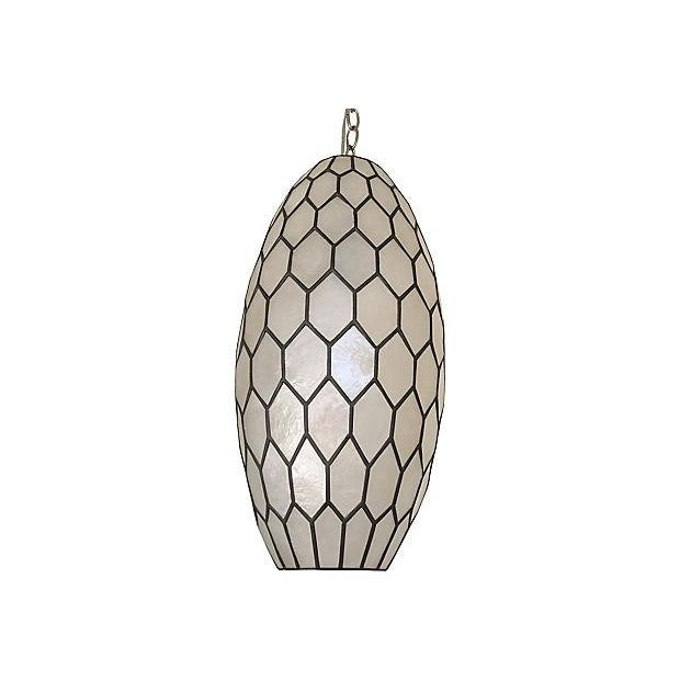 Contemporary 1960s Feldman Capiz Pendant For Sale - Image 3 of 6