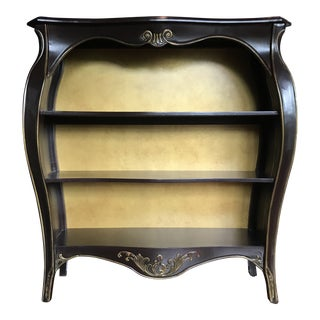 Gold Leaf Stained Wood Bookshelf For Sale