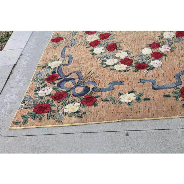 Large Room Sized Rose and Ribbons Hand Hooked Rug For Sale In Los Angeles - Image 6 of 7