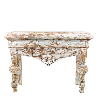 Antique French Hand Cavred Distressed White Wooden Console