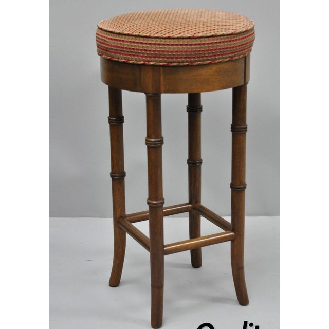 Vintage Chinese Chippendale Style Mahogany Faux Bamboo Counter Bar Stool For Sale - Image 11 of 11