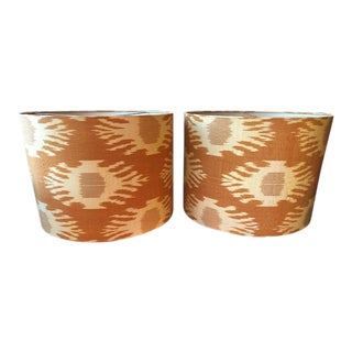 Boho Chic Ikat Fabric Lamp Shades- a Pair For Sale