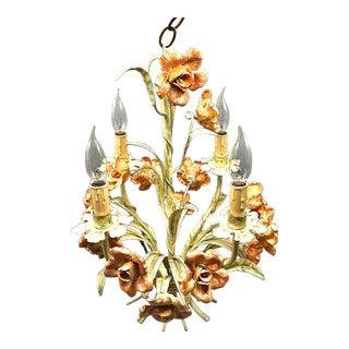 Vintage Italian Tole Floral Metal Chandelier For Sale