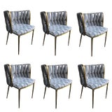 Image of Modern Milano Velvet Gray and Gold Dining Chairs- Set of 6 For Sale