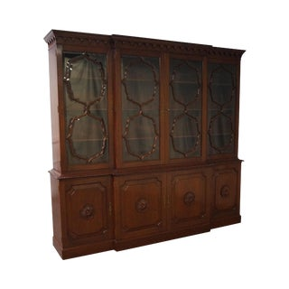 Feldenkreis Mahogany & Glass Breakfront Cabinet For Sale