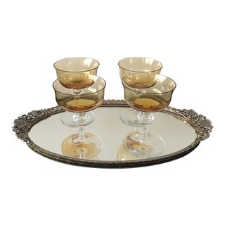 Vintage Amber Champagne Glasses With Tray - Set of 5