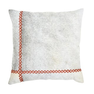 Windsor Cowhide With Coral Stitching Pillow For Sale