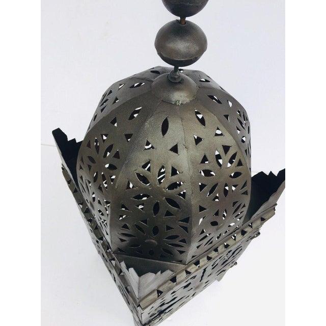 Black Large Moroccan Hurricane Metal Candle Lantern For Sale - Image 8 of 13