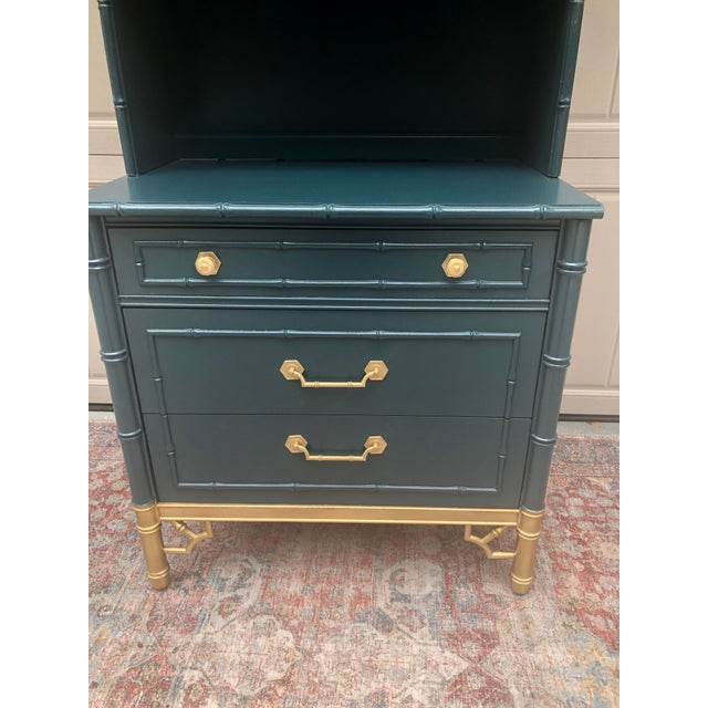 Fabulous bachelors chest in deep teal with gold accents is an impressive 84 inches tall. Great to utilize space and keep...