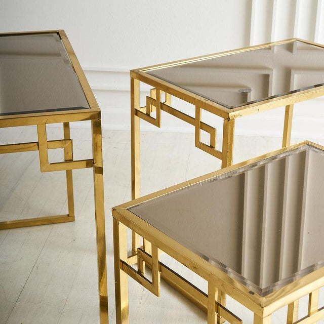Modern Brass and Rose Gold Italian Mirrored Glass Nesting Tables For Sale - Image 3 of 8