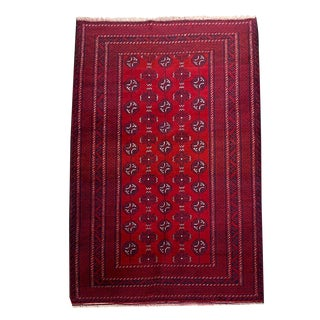Red Turkoman Style Tribal Hand-Knotted Rug - 3′8″ × 5′10″ For Sale
