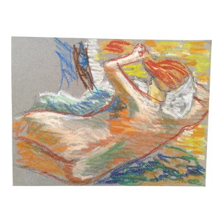 2009 Impressionist Contemporary Female Nude Pastel Drawing For Sale
