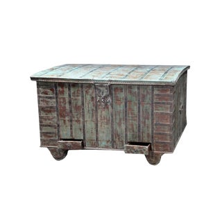 19th Century Antique Wooden Wheeled Chest For Sale