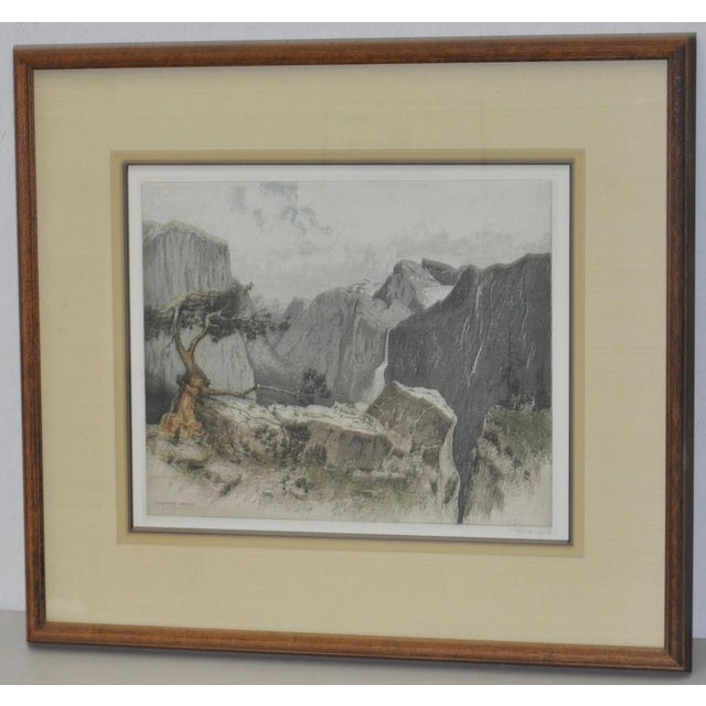Lodge Yosmite Valley Etching by Josef Eidenberger For Sale - Image 3 of 9