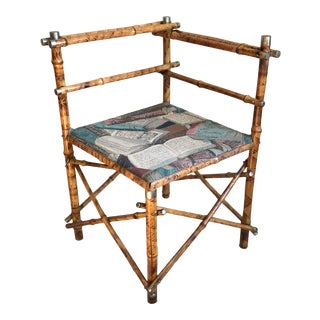 19th Century English Chinoiserie Burnt Bamboo Corner Chair For Sale