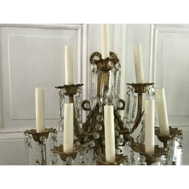 A Pair of Antique French Crystal Bronze 18 Light Sconce Pair - Image 6 of 6