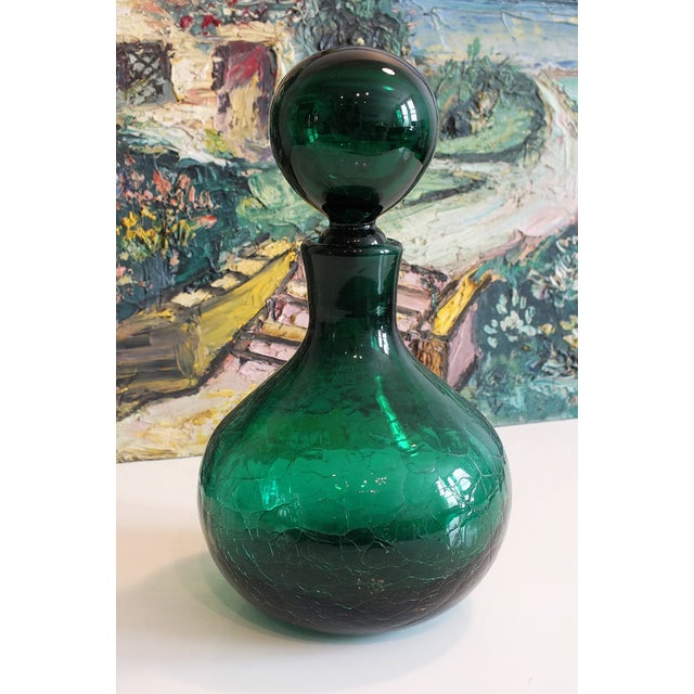 Vintage Blenko Emerald Green Crackle Glass Bottle For Sale - Image 7 of 7