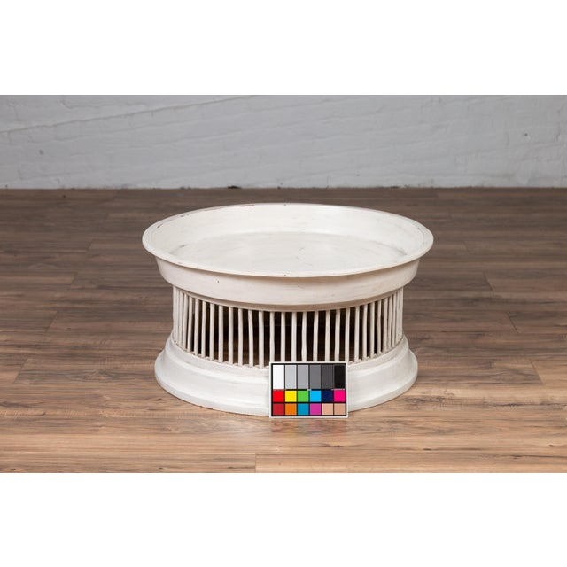 Early 21st Century Contemporary Thai Off-White Rattan Drum Design Coffee Table with Spindle Motifs For Sale - Image 5 of 13
