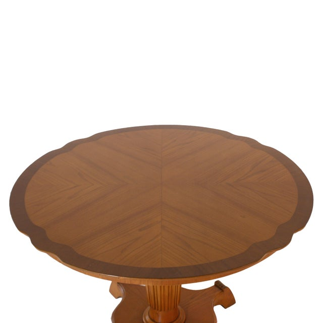 Round Elm Tables With Pedestal, C. 1920 - a Pair For Sale - Image 4 of 6