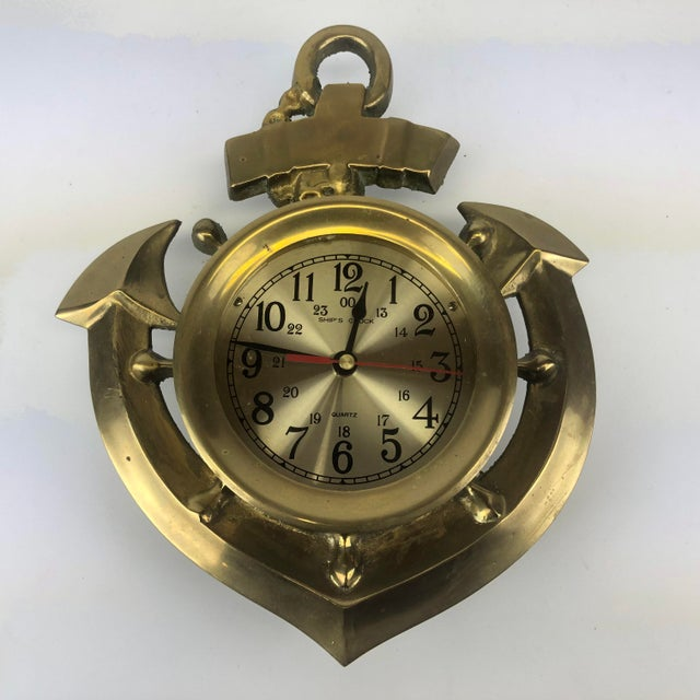Vintage Brass Anchor Wall Clock For Sale - Image 11 of 11